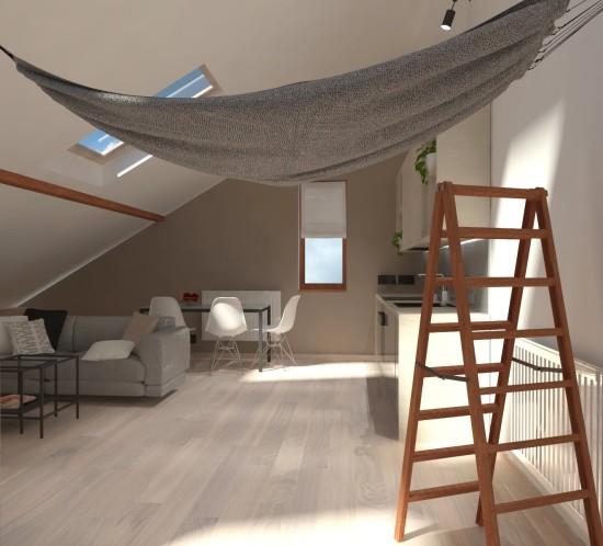 projekt poddasza Tychy aranżacja poddasza Tychy adaptacja strychu Tychy projektant wnętrz Tychy