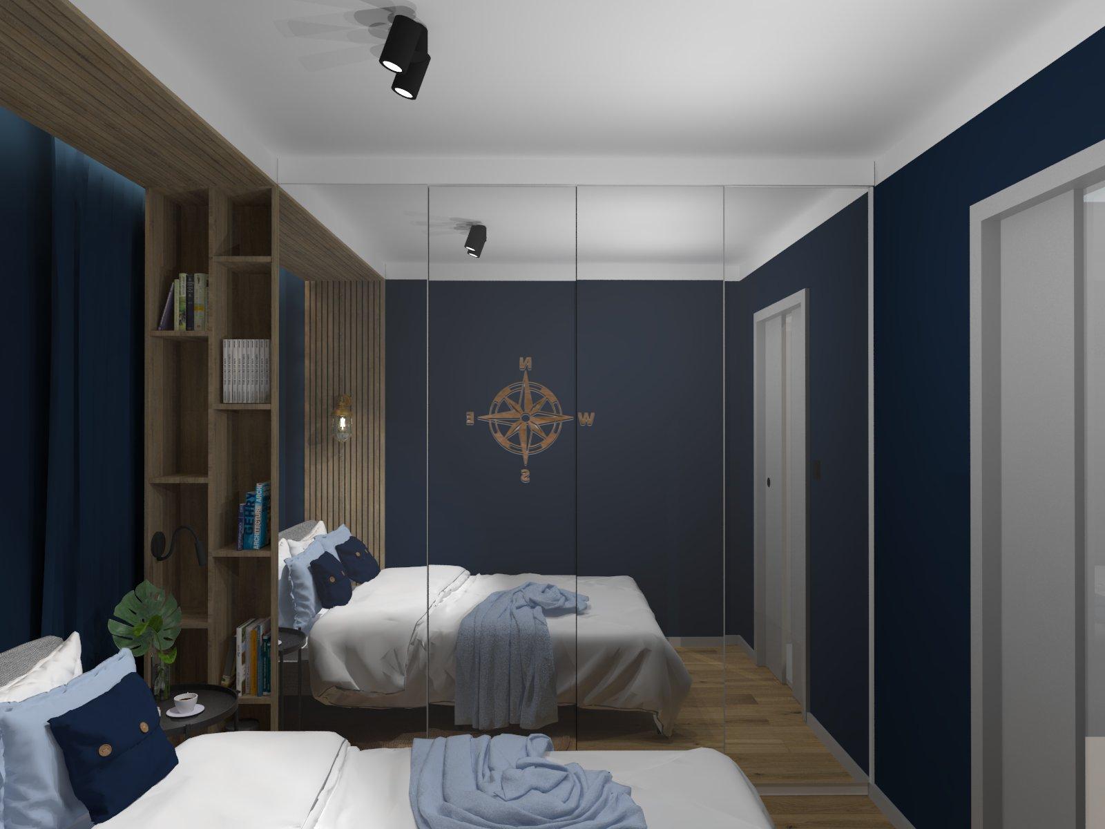 Aleksandra Chmielowicz architekt wnętrz, projektowanie wnętrz Olkusz, projektowanie wnętrz Mikołów, projektowanie wnętrz Tychy, projekt sypialni, styl marynistyczny sypialnia, styl morski sypialnia, Studio Ładnie projektowanie wnętrz Tychy